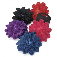 13cm HAIR FLOWER CORSAGE BEAK CLIP GRIP BROOCH PIN RED PINK BLACK PURPLE BLUE