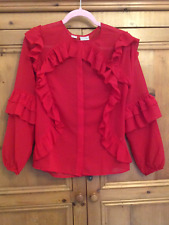 Bodyflirt @ Kaleidoscope Size 12 Red Frill Chiffon Blouse TOP Spring Occasion