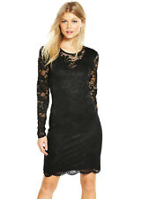 Vero Moda Petite Joy Long Sleeve Short Dress In Black Size 8