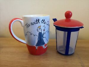 NEW Whittard Tea Mug With Infuser In Red  'Tea With The Queen' Design NEW