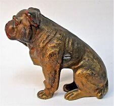 1920's Sitting English Bull Dog cast iron still bank Hubley All Original *