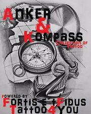 Tattoovorlagen 220 Anker und Kompass Anchor flash tattoo neu tattoobuch DOWNLOAD
