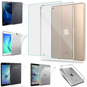 TPU Silikon Case+Tempered Glas für viele Tablet Transparent od. Matt Schutzhülle
