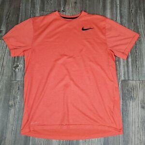 Nike T-Shirt Men's Size Large Dri Fit Athletic Workout Running Shirt Orange