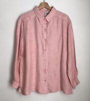 Eileen Fisher Womens L Shirt Pink Button Up Blouse Long Sleeve Linen Blend