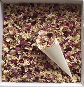 Natural Biodegradable Dried Rose Petal Wedding Confetti Cream Pink Mix Petals