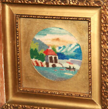 Vintage small hand made embroidery gobelin tapestry wall decor landscape