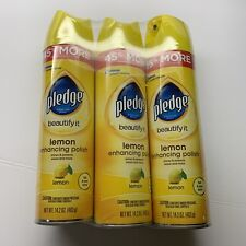 Pledge Beautify it Lemon Enhancing Polish Furniture Spray - 14.2 OZ 3 PK