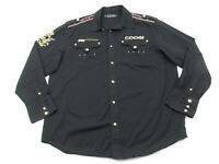 Coogi Military Button Up Shirt Black Gold Mens XL Cotton Embroidered Patches