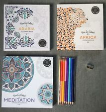 Adult Coloring Book Set, New, Meditation, Africa And Arabia W/ Colored Pencils
