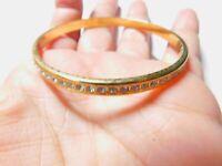 Signed Monet Clear Rhinestone Studded Gold Tone Metal Bangle Bracelet Vintage
