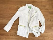 FREE PEOPLE white denim Utility jacket sz 10 L