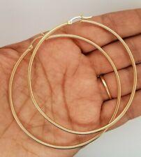 """14K Yellow Gold 2 mm Plain Hoop Earrings Large 2.7"""" Snap Closure Hoops 4.7 g"""