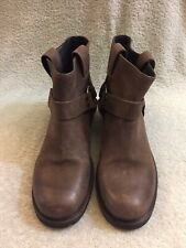 all saints Women Ring Biker Brown Ankle Boots Size 39/8.5