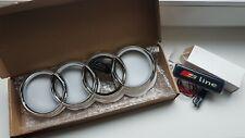Audi Emblem Größe 27x9,5 cm beleuchtet in weiß + S-Line Emblem beleuchtet