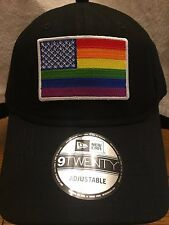 New Era NE201 Black Unstructured Cap Dad Hat w/ Rainbow American Flag Gay Pride