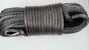 Grey1/2inch*200ft ATV UTV Winch Line,Synthetic Winch Rope with Thimble Sheath