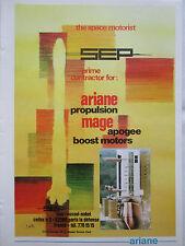 10/1977 PUB SEP PROPULSION ARIANE MAGE APOGEE BOOST MOTORS J NOEL ORIGINAL AD