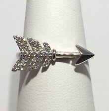 CUTE! Boho Style CZ SOLID 925 sterling Silver Arrow Ring Sz 9