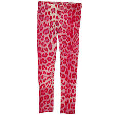NWT Roberto Cavalli Girl's Leopard Pink Stretchy Viscose Leggings (Size 6)