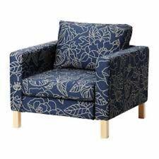 Ikea Karlstad Chair Slipcover Bladaker Blue, Beige Chair Cover-402.290.53