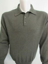 Luciano Pure 2-Ply-Cashmere Polo Sweater Green Long Sleeve Mens Size L Large