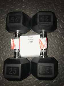 25LB Pair Of Weider Rubber Coated Hex Dumbells 50lbs Total Weight cap  FREE SHIP