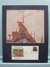 """Norman Rockwell - """"The First TV"""" & First Day Cover of the Television Stamp"""