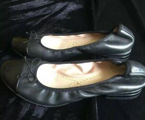 Clarks Black Soft Leather 'Soft Cushion' Flat Slip On Ballerina Pumps - Size 5 D