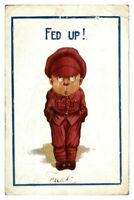 Antique military WW1 colour printed cartoon postcard Fed Up soldier