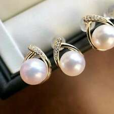 Certified Natural White Pearl S925 Silver 18K Gold Plated Mosaic Eardrop Gifts