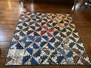 Old Antique Hand Sewn Quilt Textile AAFA ALL CALICO BACK Blue Red