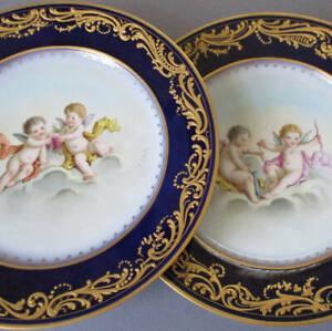 2 Antique French SEVRES HP Porcelain Cabinet Plates Cobalt CHERUBS Raised GILT