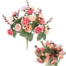 21pcs Artificial Rose Bridal Bouquet Silk Flower Leaf Wedding Party Home Decor