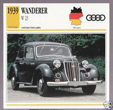 1939 Wanderer W 23 Auto Union German Car Photo Spec Sheet Info Stat French Card
