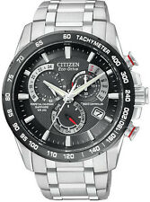 Citizen Men's Stainless Steel Black Dial Perpetual Chronograph Watch AT4008-51E