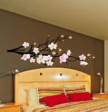 "Tree Branch with Flowers Wall Decal Deco Art Sticker Mural - 72"" wide x 28"" tall"