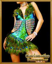 PEACOCK SALSA LATIN BURLESQUE FANCY DIVA dance dress