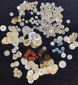 ANTIQUE & VINTAGE BUTTONS ~ Mother Of Pearl Shell Glass Celluloid Etc ~ 8 Oz