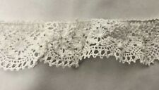 Lace Elastic Cotton Torchon White 40mm wide Trimming Sewing Sold by the metre