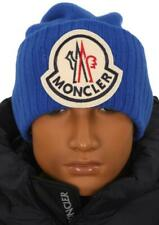 NEW MONCLER BLUE CURRENT COLLECTION LOGO WOOL BEANIE HAT ONE SIZE