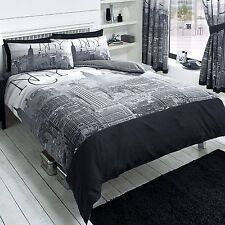 NEW YORK CITY BLACK DUVET COVER SET NEW BEDDING NYC