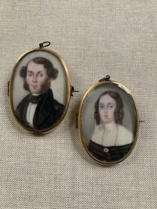 Pair American Miniature Portraits Husband & Wife Folk Art 19th Century Hair Work