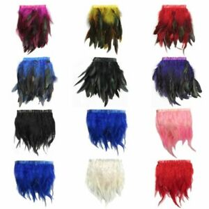 1M Rooster Hackle Coque Feather Fringe Trimmings Sewing Costume Millinery #S04