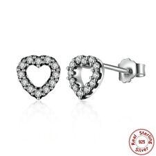 Genuine Captured Hearts Stud Earrings Solid 925 Sterling Silver Earring Studs
