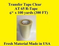 "Transfer Tape Clear 1 Roll 6"" x 100 yard  Application Vinyl Signs R TAPE"