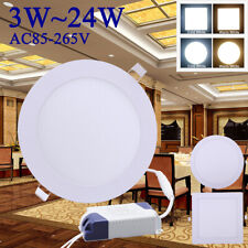 LED Recessed Downlight Ceiling Flat Panel Light Round Square Ultra slim 3-24W UK