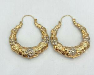 Vintage 9ct Gold Hallmarked Ladies Fancy Creole Earrings.  Goldmine Jewellers.