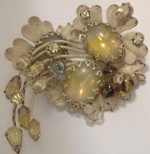 VINTAGE ORIGINAL BY ROBERT ENAMEL RHINESTONE BEADED GLASS FLOWER BROOCH