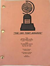 TONY AWARDS 1991 Broadcast Script, Playbill, Supper Ball Ticket, Menu & Seating